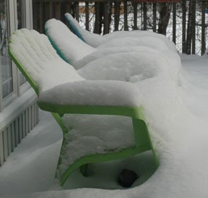 Snowy Deck Chairs ~ Photo by Patrice