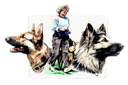Siegrun and her beloved dogs ~ Painting by Patrice