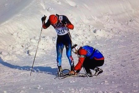 Justin Wadsworth jumped to the aid of a Russian skier labouring to finish the men's sprint race Tuesday on a broken ski. ~ article by Sports Columnist, Cathal Kelly.