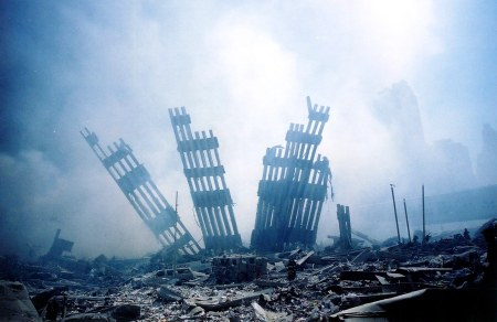 US-ATTACKS-TOWER-RUBBLE ~ The rubble of the World Trade Center smoulders following a terrorist attack 11 September 2001 in New York. A hijacked plane crashed into and destroyed the landmark structure. AFP PHOTO/Alexandre Fuchs