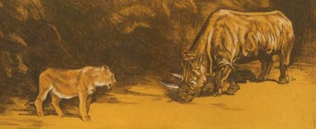 Lion & Rhino Standoff ~ Pastel Art by Patrice