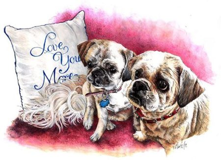 Doris' Dogs Painting ~ Watercolour Pet Portrait Art by Patrice