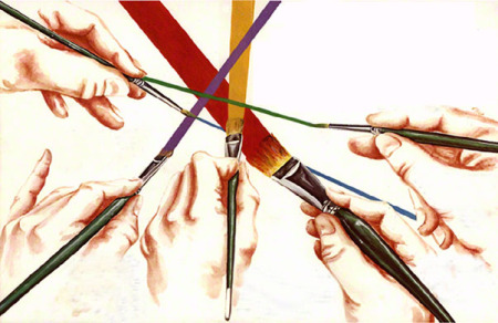 Study of hands and paint brushes ~ Illustration by Patrice for New Chalice Brushes