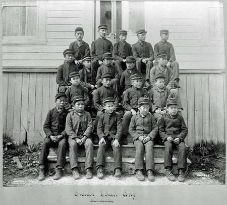 Metlakatla Indian Residential School Students Indigenous students attending the Metlakatla Indian Residential School. (Credit: William James Topley / Library and Archives Canada / C-015037)